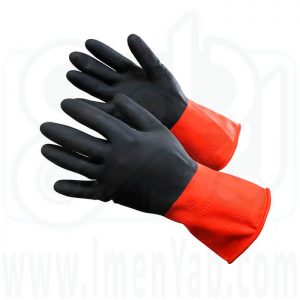 دستکش لاستیکی دو رنگ صنعت کار